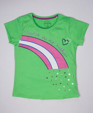 ParrotCrow Short Sleeves Rainbow Print With Beads Detail Work T Shirt - Summer Green