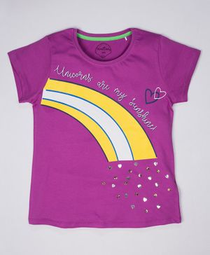ParrotCrow Short Sleeves Rainbow Print With Beads Detail Work T Shirt - Meadow Mauve