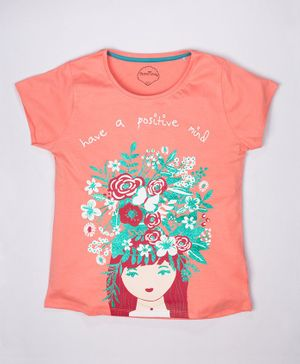 ParrotCrow Short Sleeves Have A Positive Mind Girly Glitter Printed T Shirt - Peach Pink