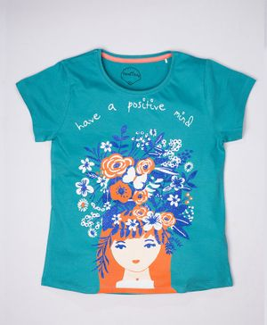 ParrotCrow Short Sleeves Have A Positive Mind Girly Glitter Printed T Shirt - Blue