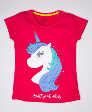 ParrotCrow Short Sleeves Unicorn Printed T Shirt - Red
