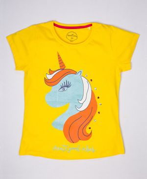 ParrotCrow Short Sleeves Unicorn Printed T Shirt - Yellow