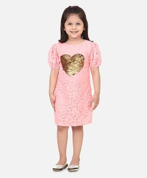 Lilpicks Couture Half Sleeves Sequin Heart Detailing Lacey Dress - Light Pink