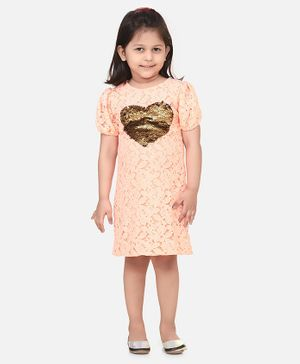 Lilpicks Couture Half Sleeves Sequin Heart Detailing Lacey Dress - Peach