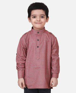 Lilpicks Couture Full Sleeves Solid Short Kurta - Purple