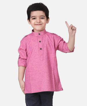 Lilpicks Couture Full Sleeves Solid Short Kurta - Pink