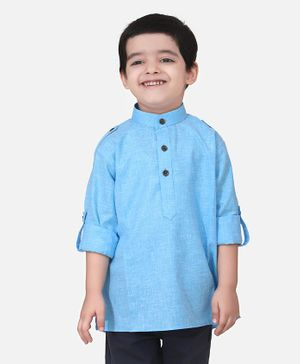 Lilpicks Couture Full Sleeves Solid Short Kurta - Sky Blue