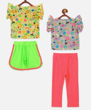 Lilpicks Couture Short Sleeves Flowers Printed Set Of 2 Top With Shorts & Leggings Set - Multicolor