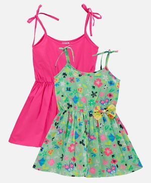 Lilpicks Couture Pack Of 2 Sleeveless Strappy Flowers Printed Flared Dress - Pink & Green