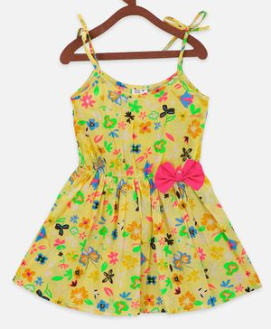 Lilpicks Couture Sleeveless Flower Printed Bow Flared Dress - Yellow