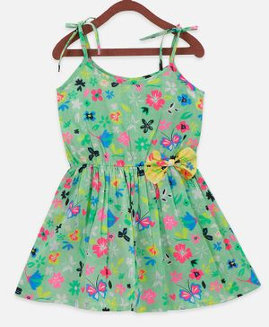 Lilpicks Couture Sleeveless Flower Printed Bow Flared Dress - Green