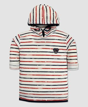 CAVIO Full Sleeves Striped Hooded Tee - Red