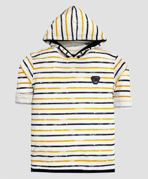 CAVIO Full Sleeves Striped Hooded Tee - Yellow