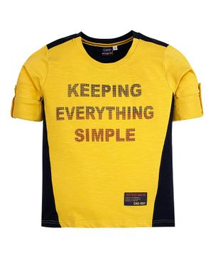 CAVIO Full Sleeves Keeping Everything Simple Print Tee - Yellow