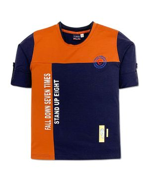 CAVIO Full Sleeves Printed Tee - Orange & Navy