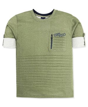 CAVIO Full Sleeves Pleated Tee Zip Pocket - Green
