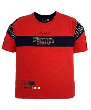 CAVIO Creative Print Full Sleeves Tee - Red