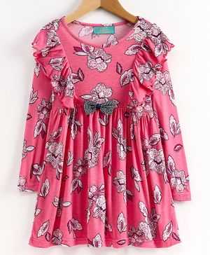 Tiara Full Sleeve Ruffled Flowers Printed Flared Dress - Pink