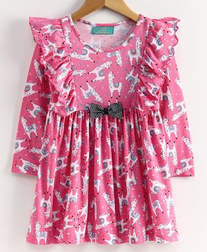 Tiara Full Sleeves Lima Printed Ruffle Detailing Dress - Pink