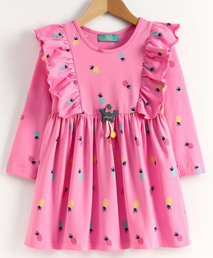 Tiara Full Sleeves Pineapple Printed Dress - Baby Pink
