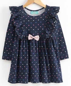 Tiara Full Sleeves Polka Dot Printed Dress - Dark Blue