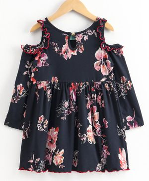 Tiara Full Sleeves Floral Print Cold Shoulder Dress - Navy Blue