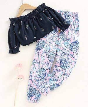 Tiara Full Sleeves Floral Printed Crop Top With Pants - Pink & Blue