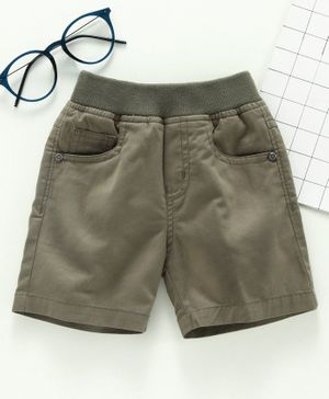 Jash Kids Knee Length Solid Color Shorts - Olive Green