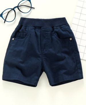 Jash Kids Knee Length Solid Color Shorts - Navy Blue