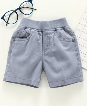 Jash Kids Knee Length Solid Color Shorts - Grey