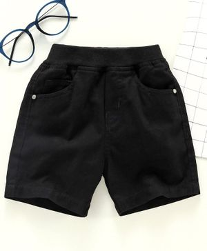 Jash Kids Knee Length Solid Color Shorts - Black