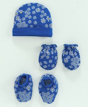 Babyhug 100% Cotton Cap, Mitten & Booties Set Floral Print - Blue