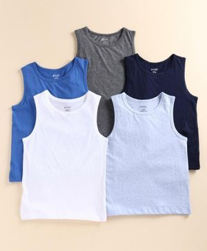 Pine Kids Sleeveless Anti Microbial & Bio Washed Vests Pack of 5 - Blue Navy Grey