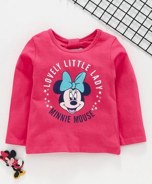 Babyhug Full Sleeves Top Minnie Mouse Print - Pink