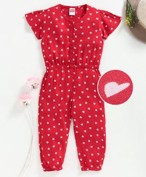 Babyhug Full Length Half Sleeves Jumpsuit - Red