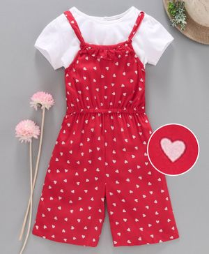 Babyhug Jumpsuit with Inner Tee Heart Print - Red