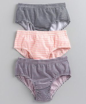 Pine Kids Anti Microbial & Biowashed Striped Panties Set of 3 - Multicolor