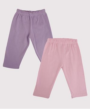 Color Fly Pack Of 2 Solid Colour Full Length Leggings - Purple & Light Pink