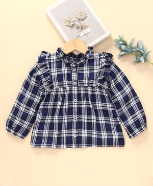 Babyhug Full Sleeves Check Top - Blue