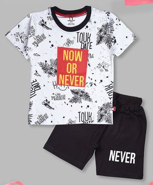 Crazy Penguin Half Sleeves Now Or Never Printed T-Shirt & Shorts Set - White