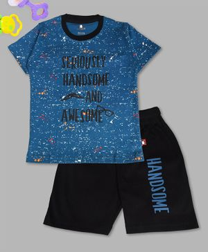 Crazy Penguin Half Sleeves Seriously Handsome And Awesome Printed T-Shirt & Shorts Set - Blue