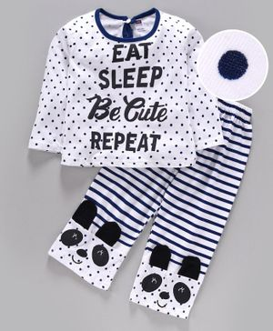 Nottie Planet Full Sleeves Eat Sleep Be Cute Repeat Print Night Suit - White