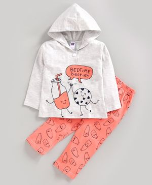 Nottie Planet Full Sleeves Bedtime Besties Printed Hooded Night Suit - Grey Peach