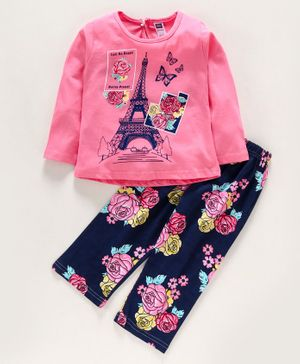 Nottie Planet Full Sleeves Eiffel Tower Printed Night Suit - Pink & Navy Blue