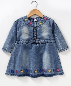 Nottie Palnet Full Sleeves Star Patch Denim Dress - Blue