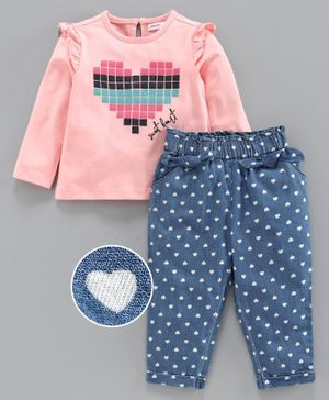 Babyoye Full Sleeves Top with Bottoms Heart Print - Pink Blue