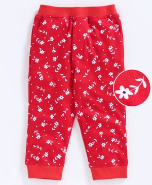 Babyoye Full Length Lounge Pant Floral Print - Red