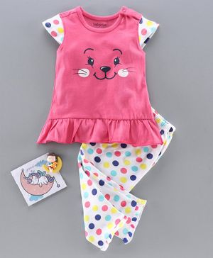 Babyoye Cotton Cap Sleeves Night Suit Kitty Print - Pink White