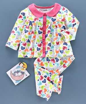 Babyoye Cotton Full Sleeves Night Suit Sweet Dreams Print - White Pink
