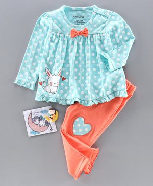 Babyoye Cotton Full Sleeves Polka Dot Night Suit Bunny Print - Blue Orange